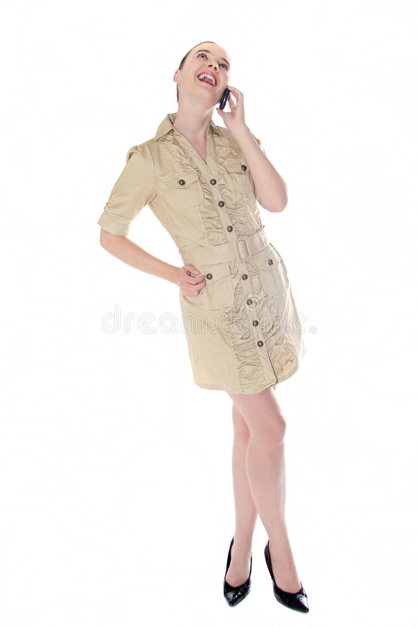 Beautiful Business Woman Talking On Mobile Phone Royalty Free Stock Photography