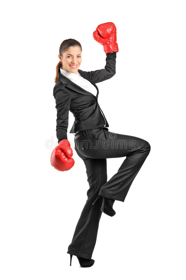 Download Beautiful Business Woman Wearing Boxing Gloves Stock Image - Image: 22847219