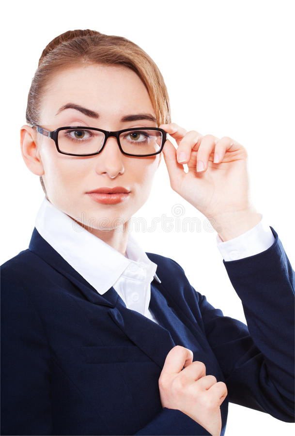 Beautiful business woman on white background royalty free stock photos