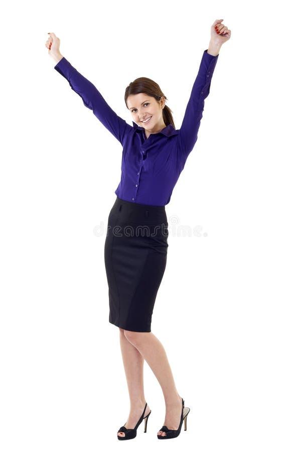 Beautiful business woman winning stock image
