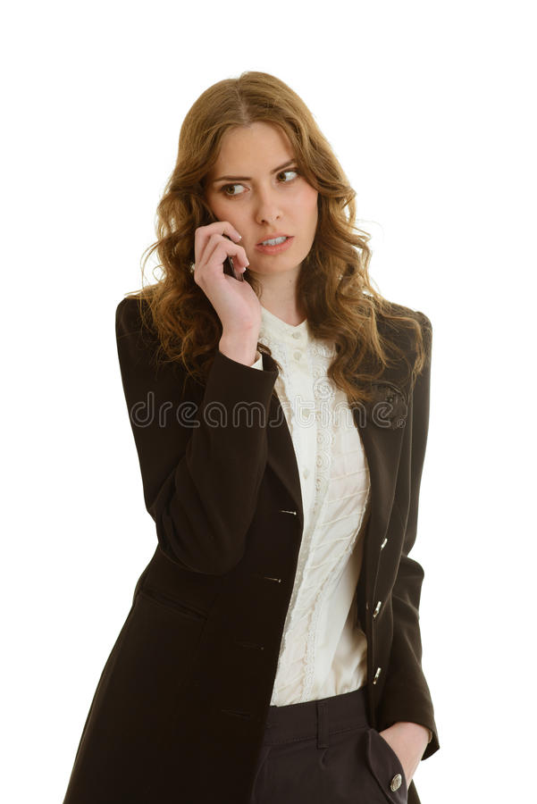 Beautiful businesswoman calls. At white background stock images