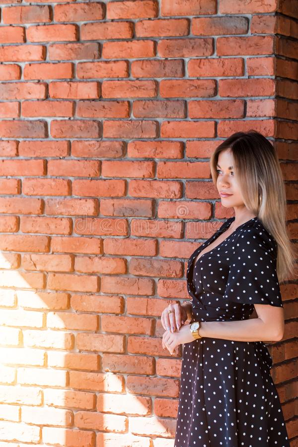 Beautiful businesswoman in dress looking in copy space near the brick wall. royalty free stock images