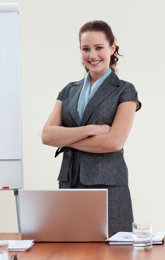 Download Beautiful Businesswoman With Folded Arms Stock Photo - Image of lady, people: 11259116
