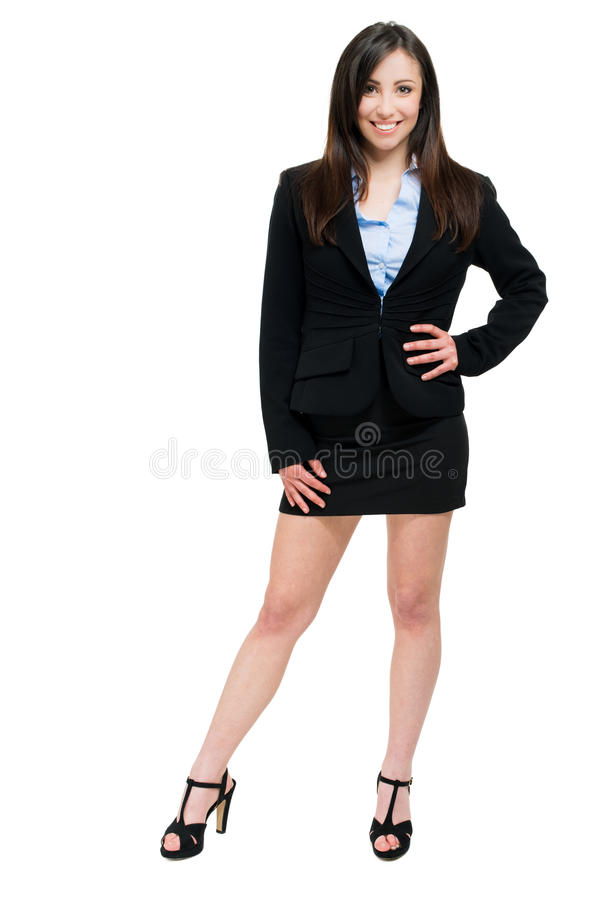 Beautiful businesswoman isolated on white full length stock photography