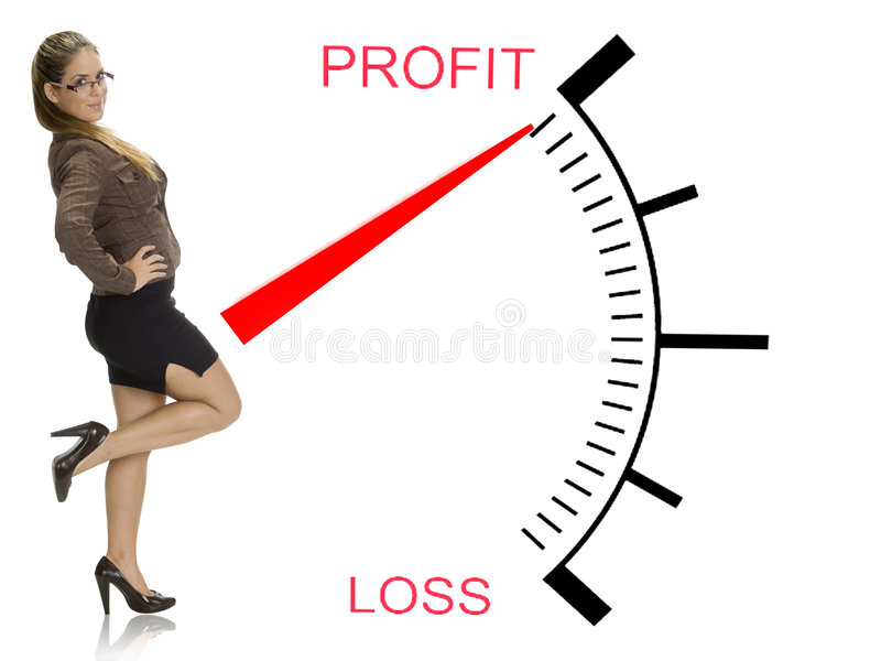 Beautiful businesswoman near profit loss meter royalty free stock images