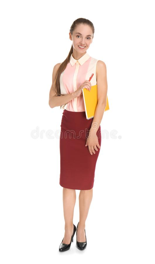 Beautiful businesswoman with notebook on white background royalty free stock image