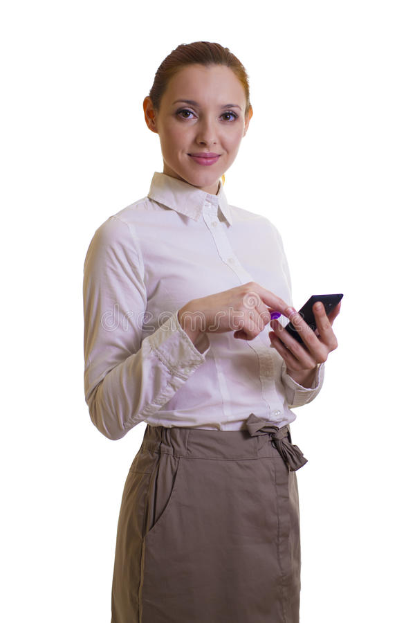 Download Beautiful Businesswoman With Smart-phone Stock Image - Image: 36414579