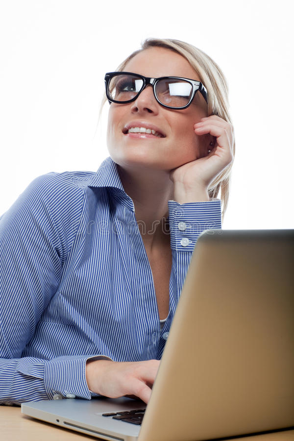 Beautiful Businesswoman Thinking Deeply Royalty Free Stock Photography