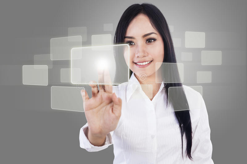 Download Beautiful Businesswoman And Touch Screen Stock Illustration - Image: 28538379
