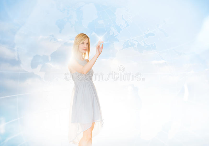 Download Beautiful Businesswoman Touching Screen With World Map In Backgr Stock Image - Image: 32145819