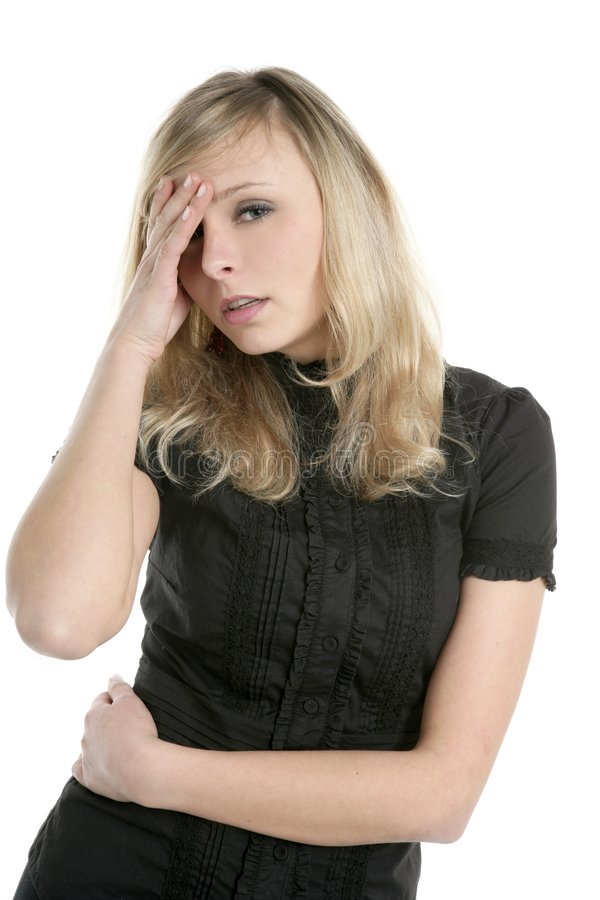 Beautiful businesswoman in troubles. With head ache royalty free stock photo