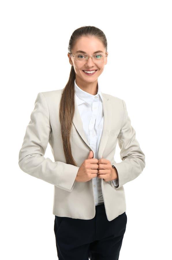 Beautiful businesswoman on white background royalty free stock photos