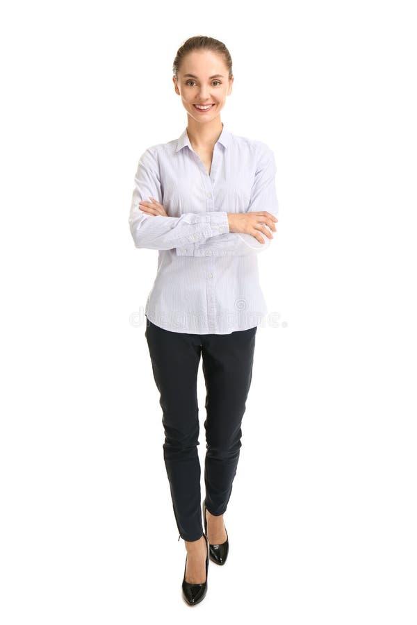 Beautiful businesswoman on white background royalty free stock image