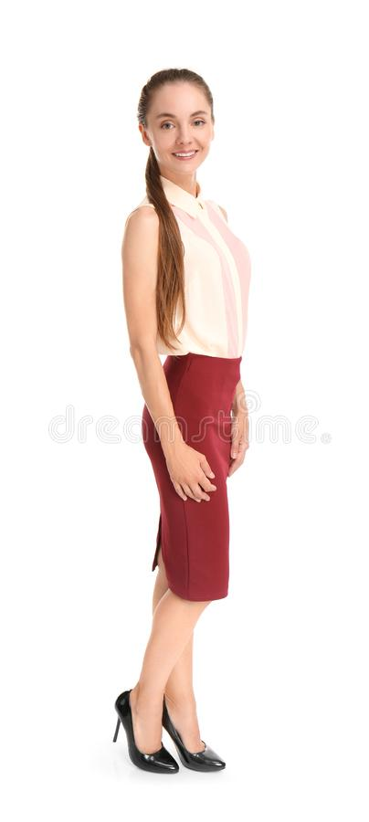 Beautiful businesswoman on white background royalty free stock images