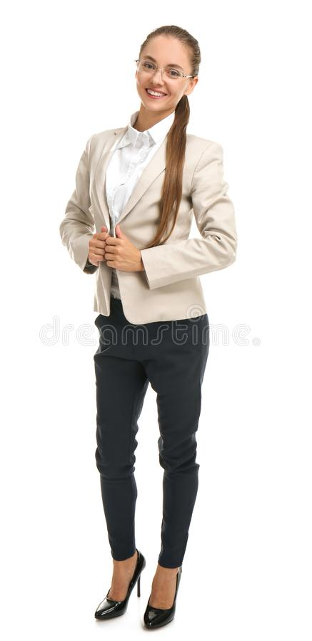 Beautiful businesswoman on white background stock image
