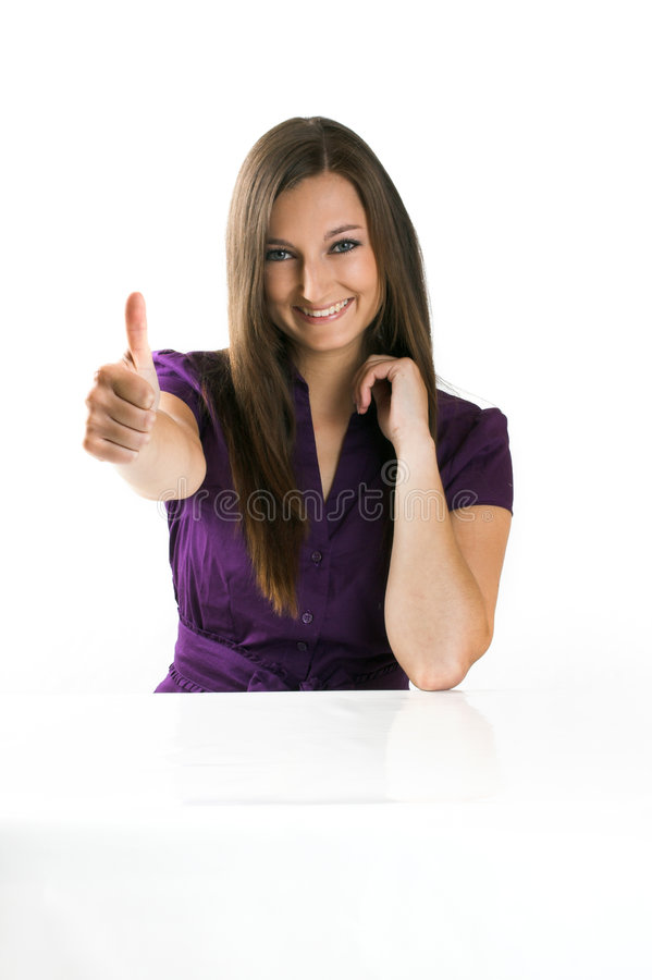 Free Beautiful Businesswoman With Thumb Up Royalty Free Stock Images - 5553919