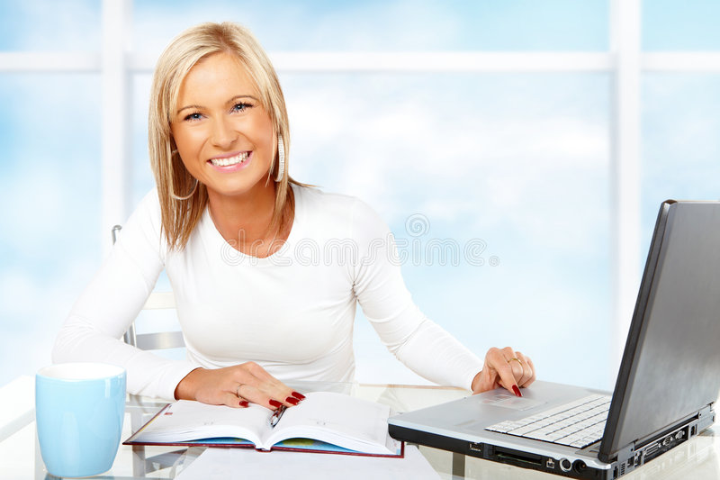 Download Beautiful Businesswoman Working Or Studying Stock Image - Image: 7783271