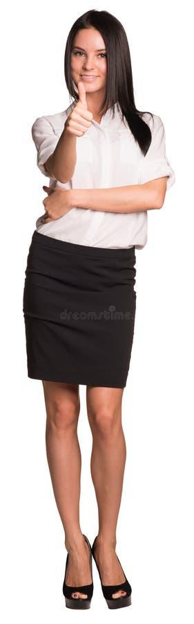 Beautiful businesswomen pointing finger at camera stock photo