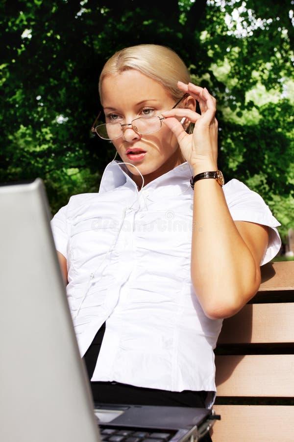 Download Beautiful Businesswomen Working On Her Laptop Stock Photo - Image: 10395386