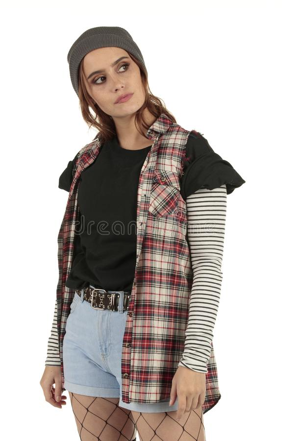 Free Beautiful But Distant Grunge, Rock Punk Girl In A Tucked In Baggy Black Tshirt With A Plain Space For Your Band Design Tees Stock Photo - 130875020
