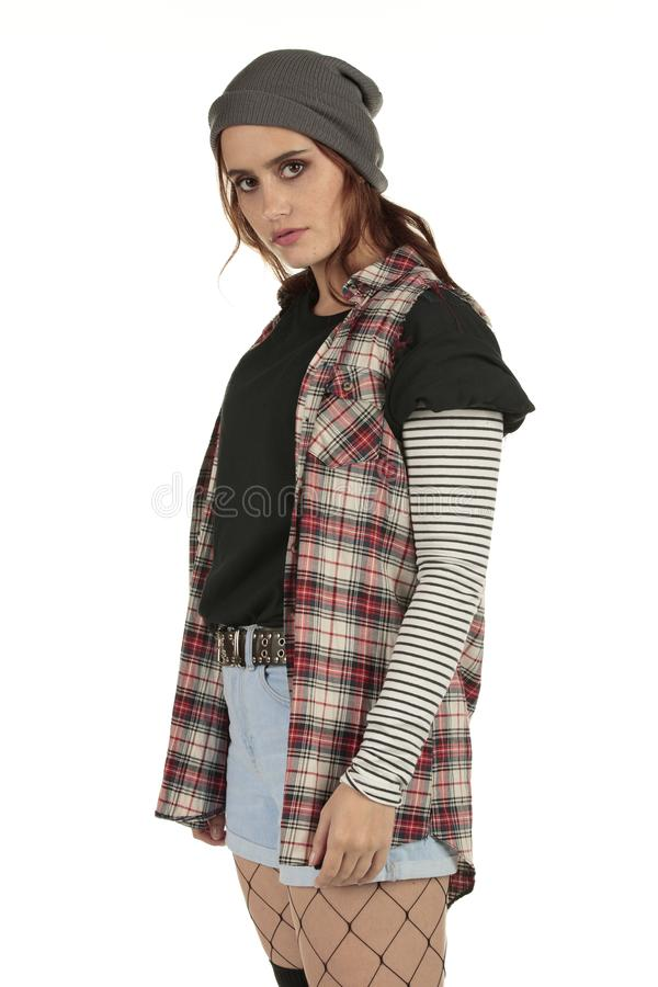 Free Beautiful But Distant Grunge, Rock Punk Girl In A Tucked In Baggy Black Tshirt With A Plain Space For Your Band Design Tees Stock Photos - 130875173