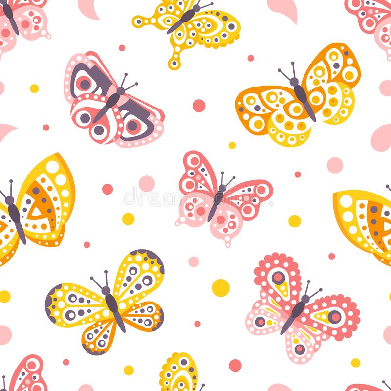 Free Beautiful Butterflies Abstract Seamless Background, Fabric, Wallpaper, Wrapping Paper, Textile, Background Design Vector Royalty Free Stock Photos - 208614408