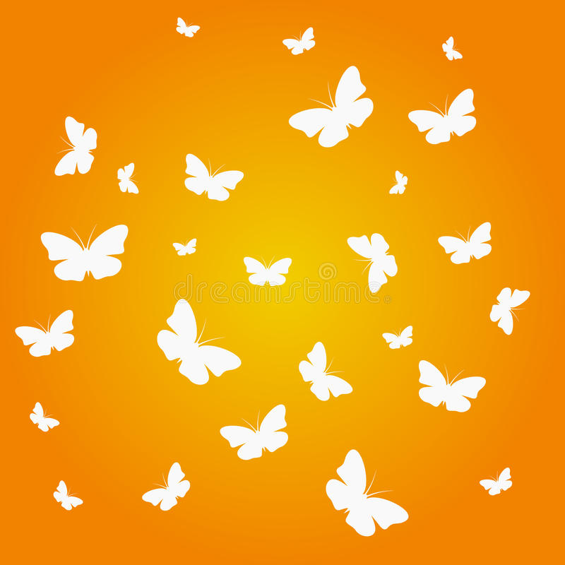 Beautiful butterflies. Group of beautiful butterflies on a white background Orange vector illustration