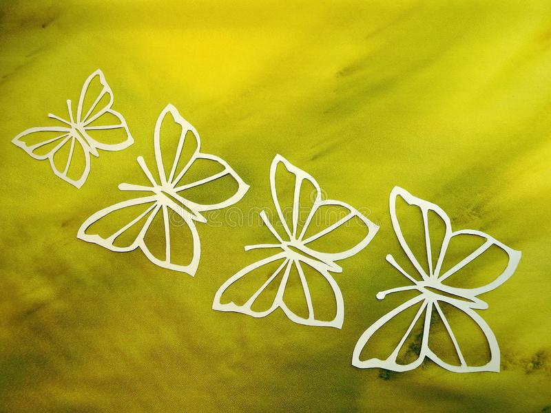 Beautiful white butterfly cut from paper royalty free stock image