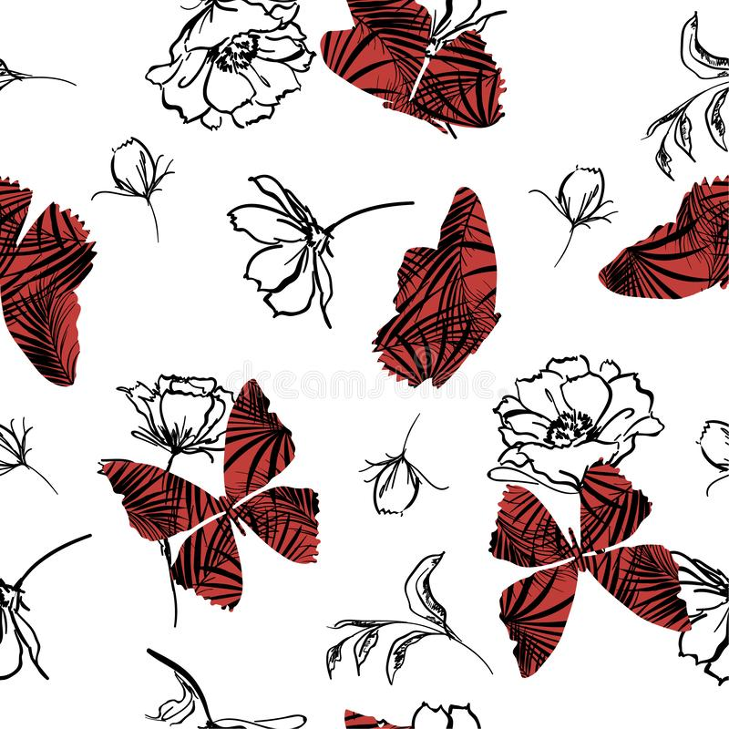 Beautiful Butterfly fill-in tropical pattern flying on hand sketch doodle flower and leaves seamless vector design for. Fashion, fabric, wallpaper, and all stock illustration