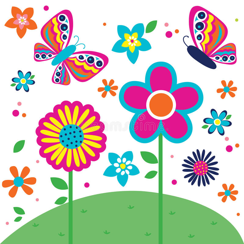 Beautiful butterfly and flowers pattern royalty free stock photography