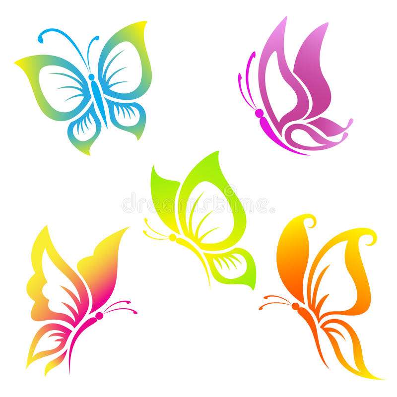 Free Beautiful Butterfly Icon Set Royalty Free Stock Images - 39529439