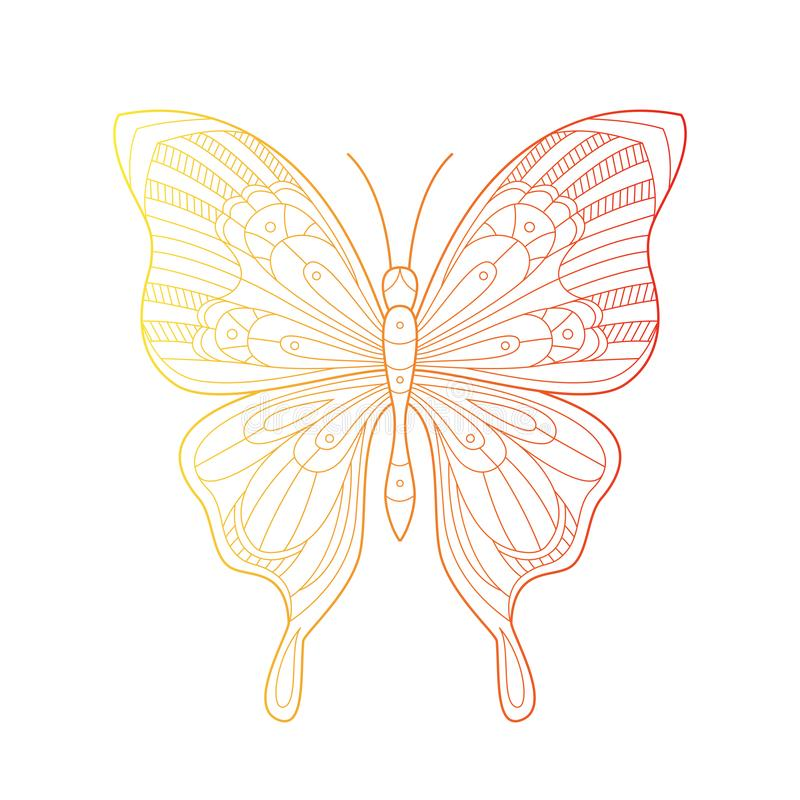 Beautiful butterfly line art illustration with gradient color. Hand drawn doodle. Creative vector bohemia concept royalty free illustration