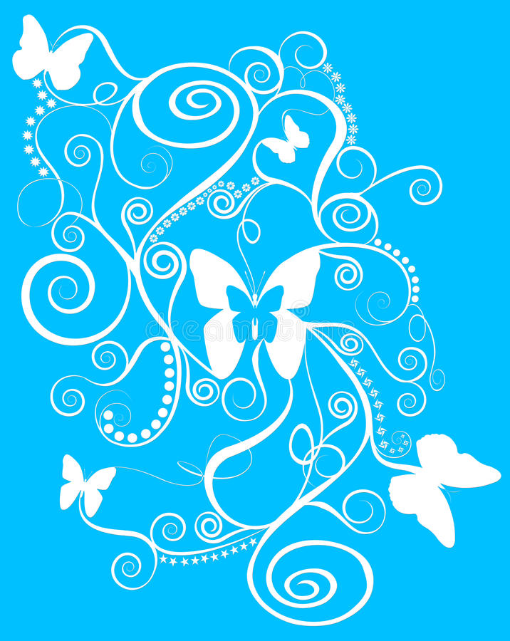 Beautiful butterfly spirals. An abstract design of butterflies, spirals and swirls in white on a blue background royalty free illustration