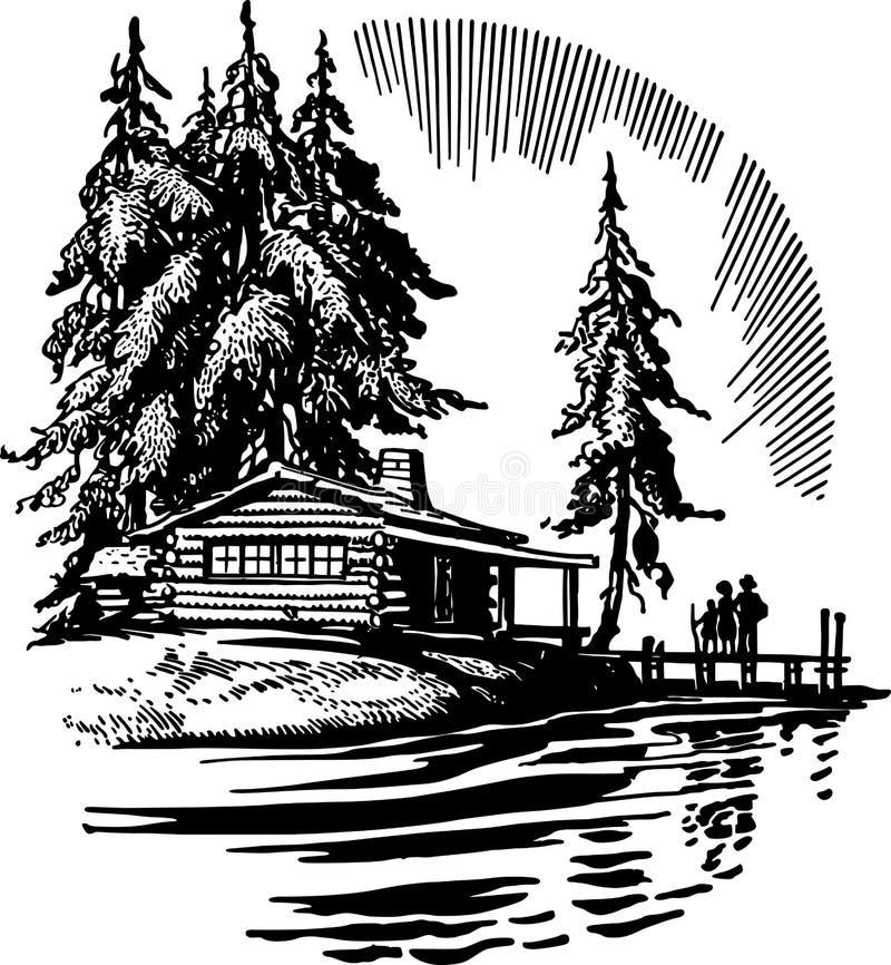 Beautiful Cabin By A Lake. Family enjoying a beautiful cabin by a lake royalty free illustration