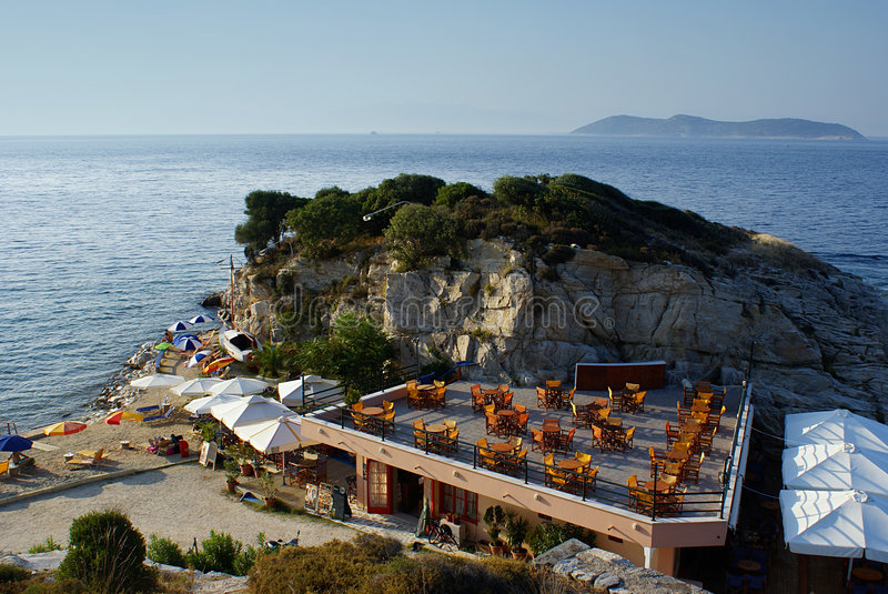 Beautiful cafeteria at the beach. On Thassos island, Greece royalty free stock image