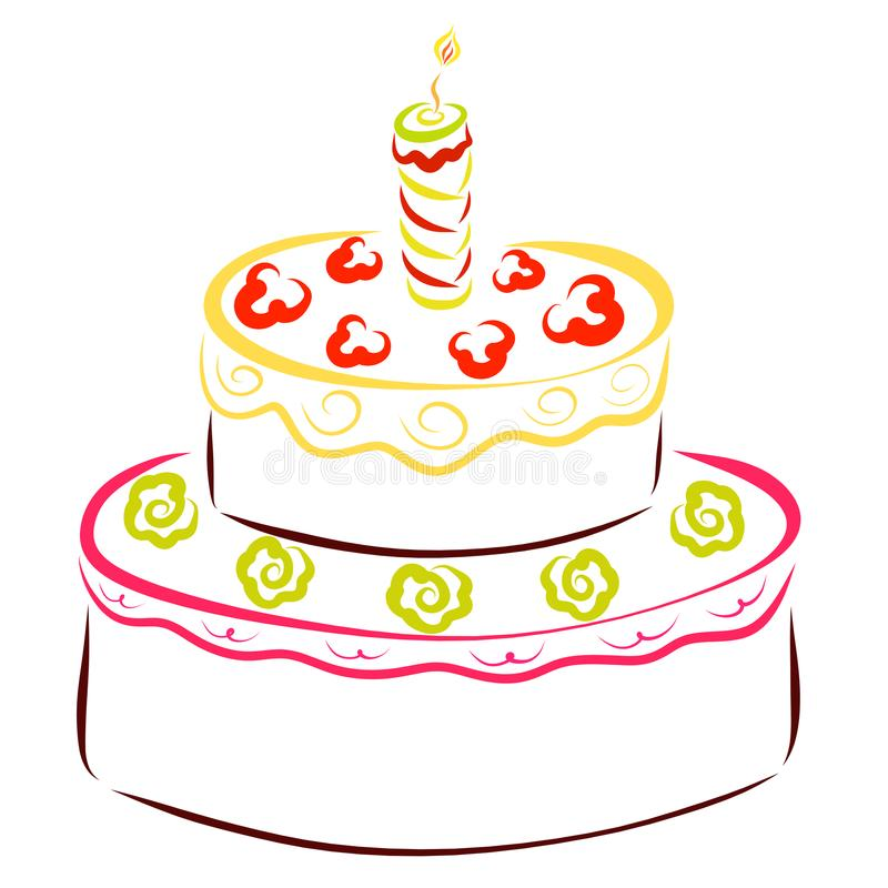 Beautiful cake for a holiday with one burning candle stock illustration