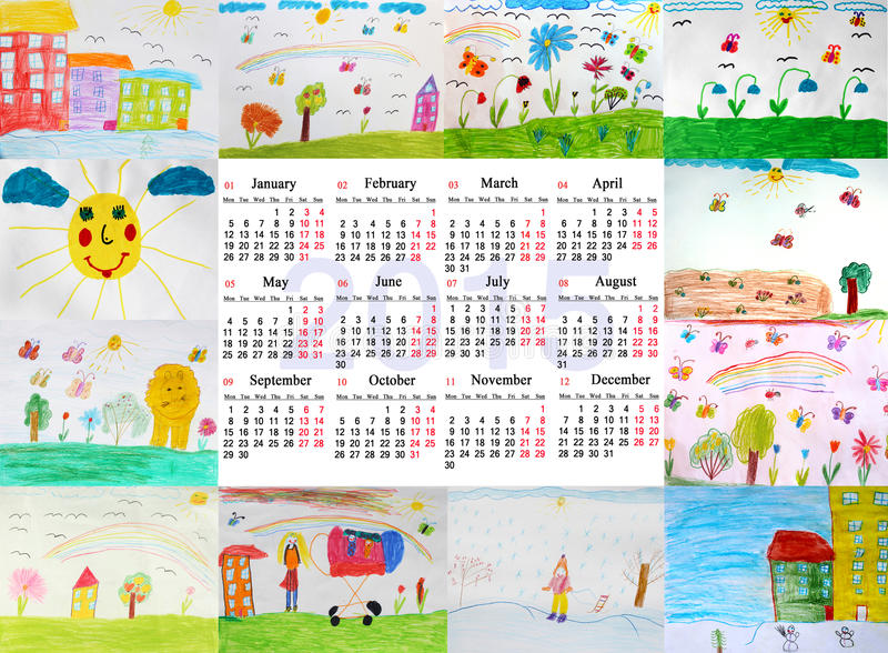 Calendar Drawing For Kids : Beautiful calendar for year with children s drawings