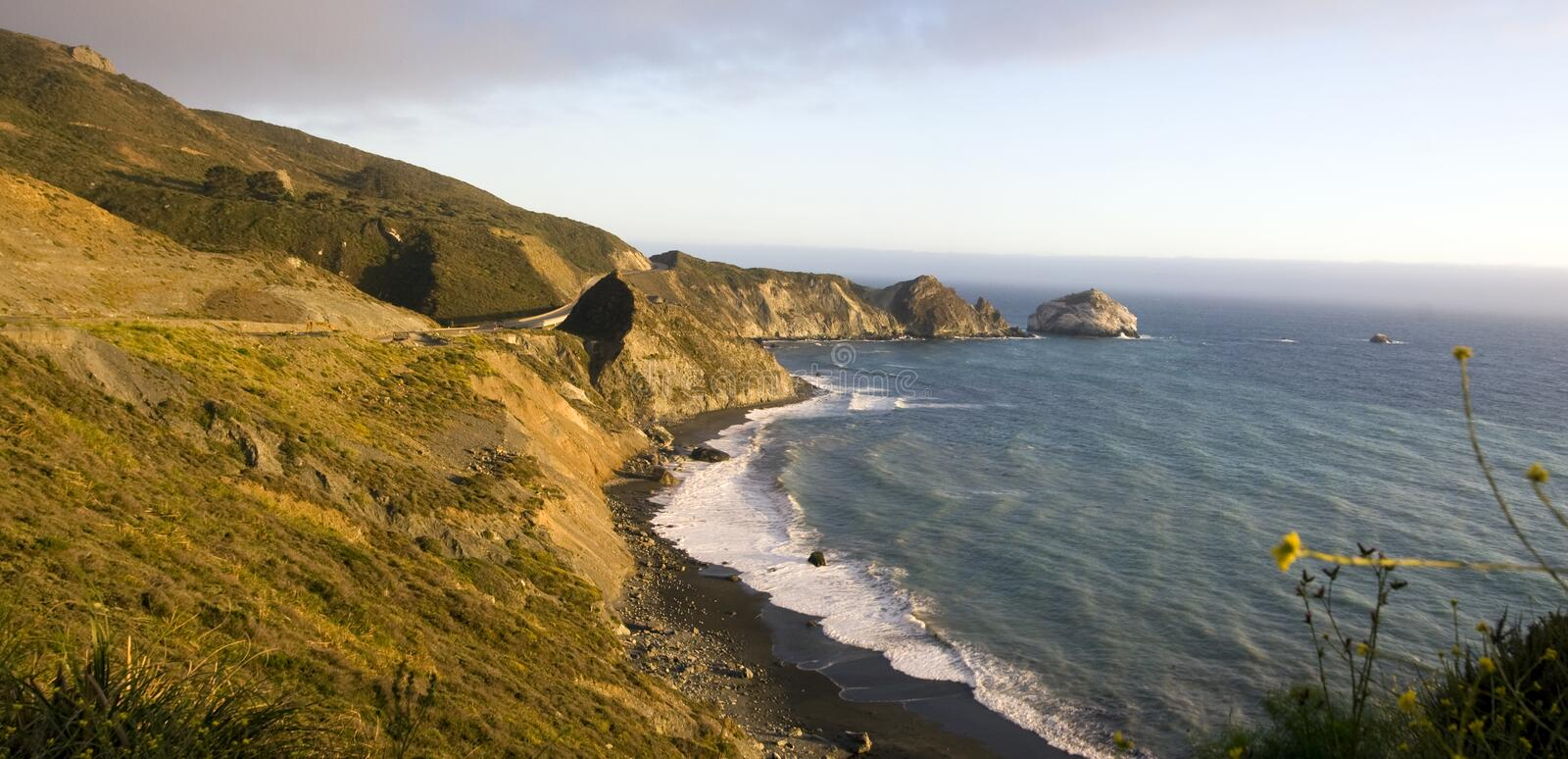 Beautiful California Coastline. Panoramic view of the beautiful northern California coastline along the Pacific Ocean between San Francisco and Los Angeles, USA royalty free stock image