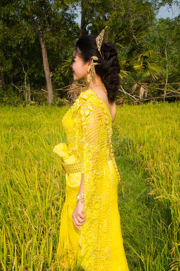 Download Beautiful Cambodian Asian Bride In Traditional Wedding Dress In A Rice Field Stock Image - Image: 92618533
