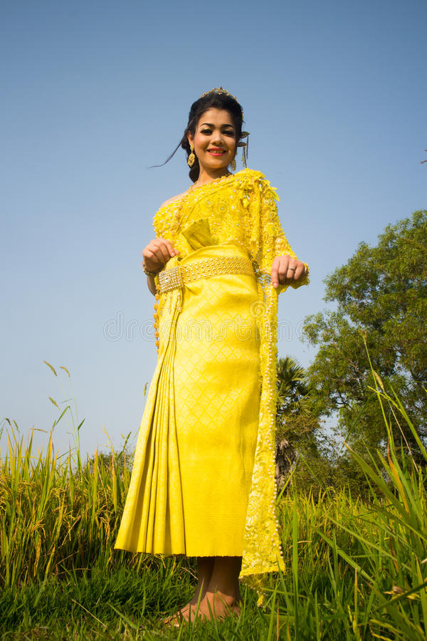 Download Beautiful Cambodian Asian Bride In Traditional Wedding Dress In A Rice Field Stock Photo - Image: 92618538