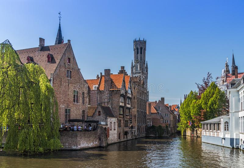 Beautiful canal and traditional houses in the old town of Bruges stock photos