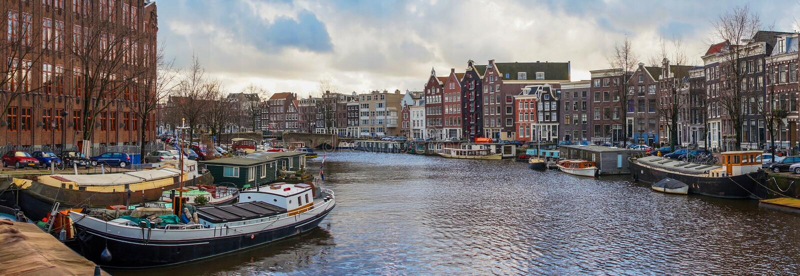 Beautiful canal views in Amsterdam stock images