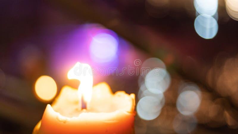 Beautiful candlelight with beautiful bokeh as a beautiful. Blur background royalty free stock image