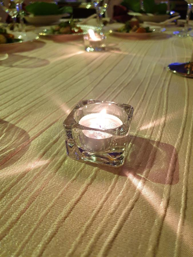 the beautiful candlelight dinner stock photo