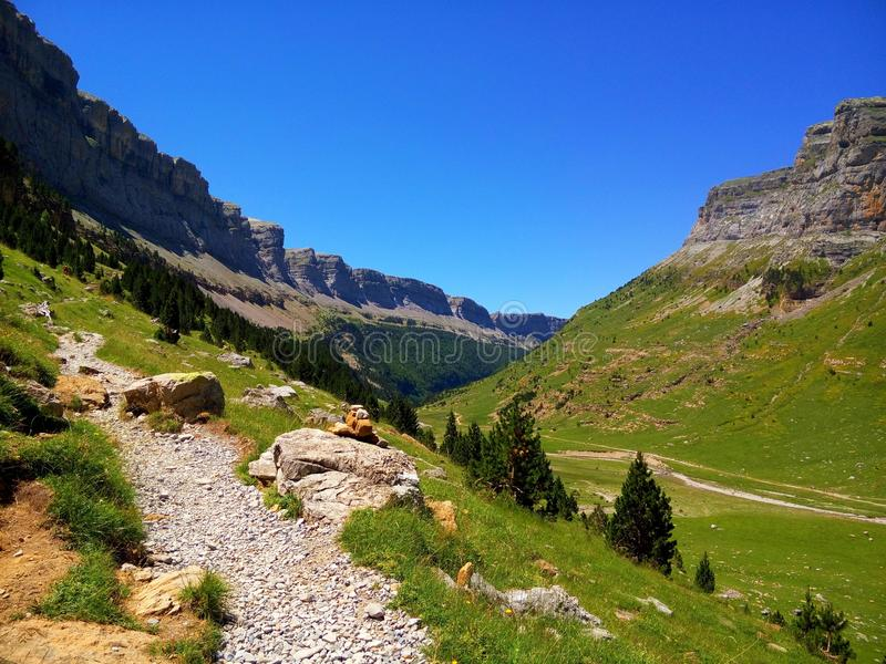 Beautiful canyon in the pyrenees stock photos
