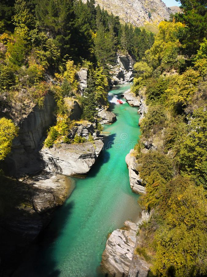 Beautiful Canyon River, New Zealand Landscape. Beautiful green Shotover River in canyon. Queenstown, New Zealand landscape royalty free stock photo