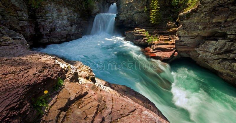 Beautiful canyon waterfall royalty free stock photo