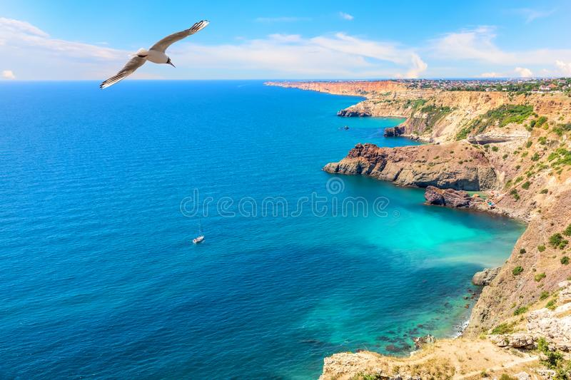 Beautiful cape Fiolent and azure water of the Black sea in Crimea.  stock image