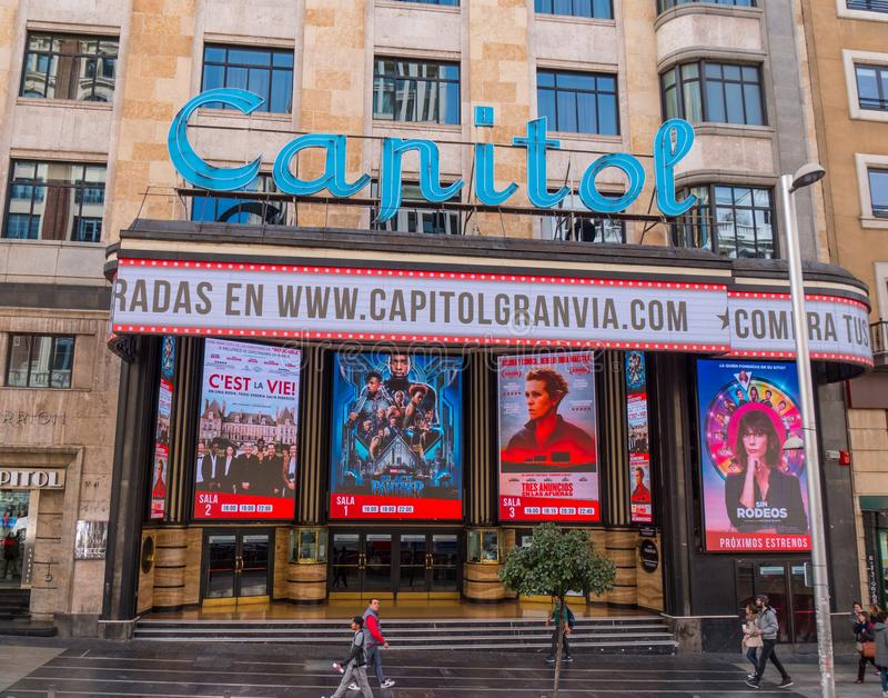 Beautiful Capitol cinema - movie theater at Gran Via Madrid royalty free stock photo