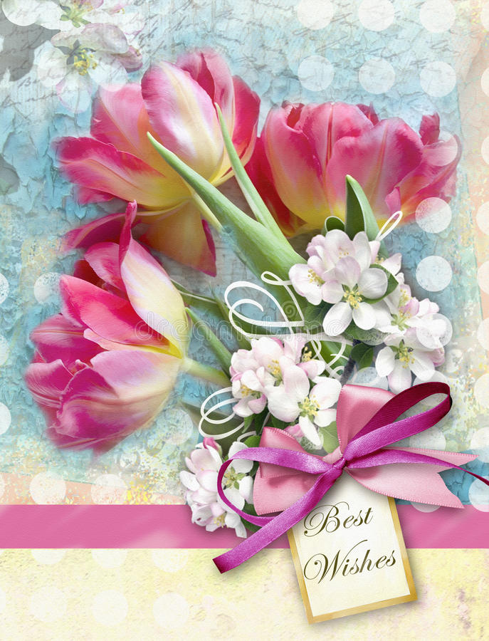Beautiful card with bouquet of red tulips end other spring flowers with pink bow. Holiday floral background. Can be used as greeting card, invitation for stock image